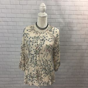 3/4 Sleeve Popover Floral Blouse